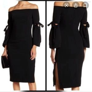 Do + Be Black Tie Sleeve Cocktail Midi Dress M